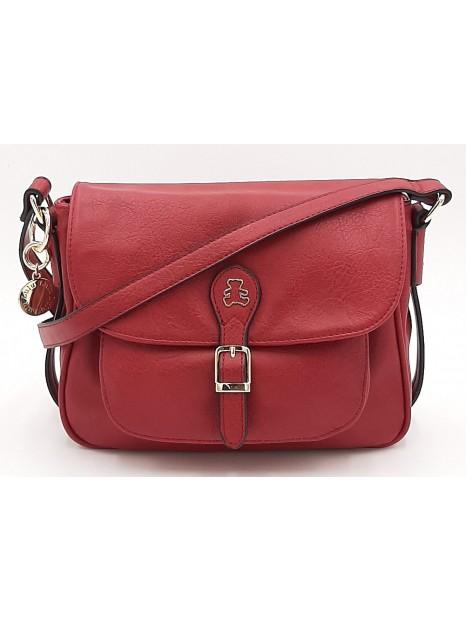 Czerwona torebka listonoszka z misiem LULU CASTAGNETTE
