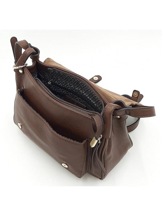 Brązowa torebka listonoszka z klapką LULU CASTAGNETTE