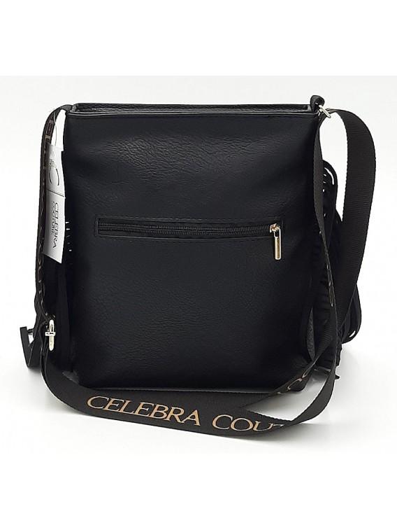Czarna torebka listonoszka z frędzlami CELEBRA COUTURE