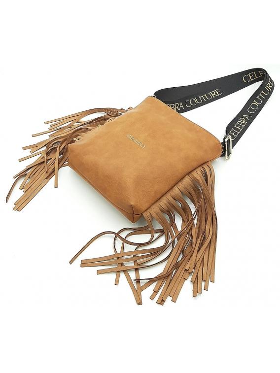 Brązowa torebka listonoszka z frędzlami CELEBRA COUTURE
