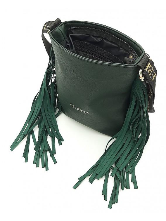 Zielona torebka listonoszka z frędzlami CELEBRA COUTURE