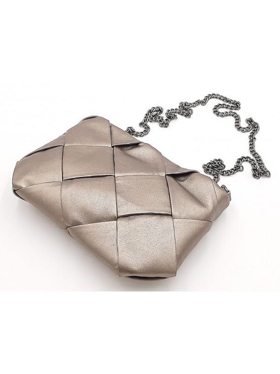 Złota pleciona torebka na łańcuszku BESTINI