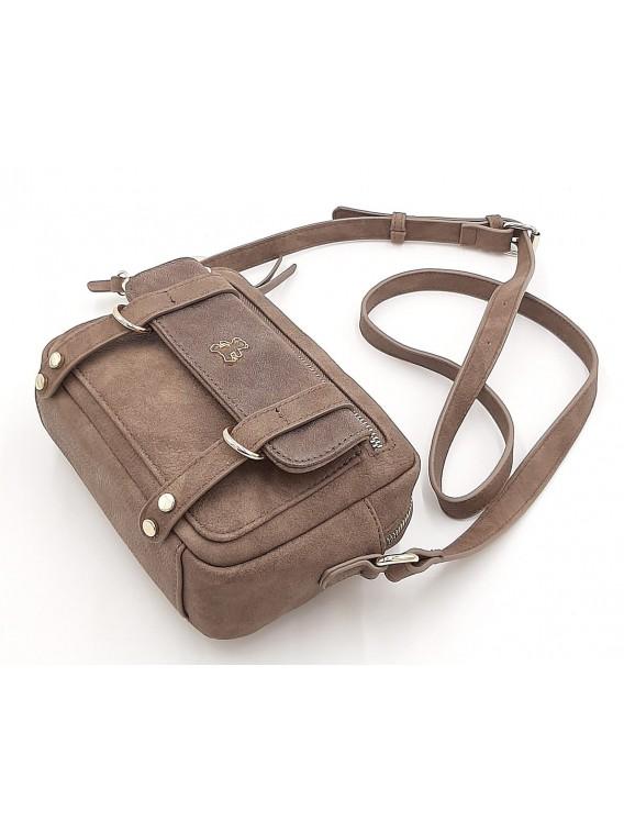 Brązowa mała torebka listonoszka z misiem LULU CASTAGNETTE
