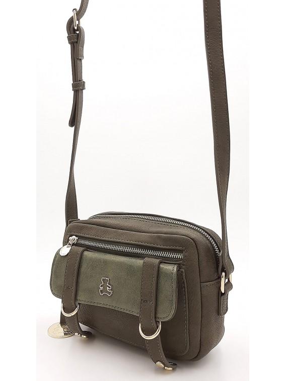 Oliwkowa mała torebka listonoszka z misiem LULU CASTAGNETTE