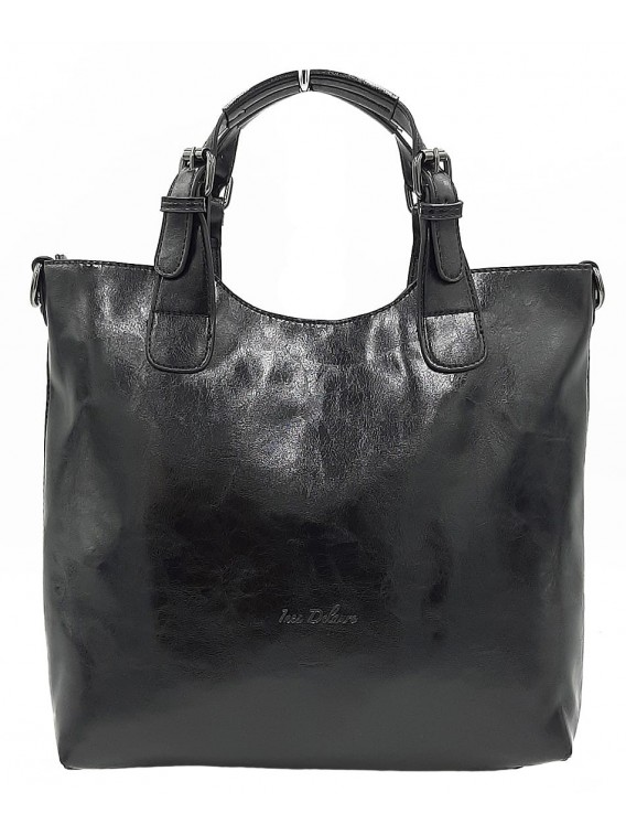Czarna klasyczna torebka damska INES DELAURE