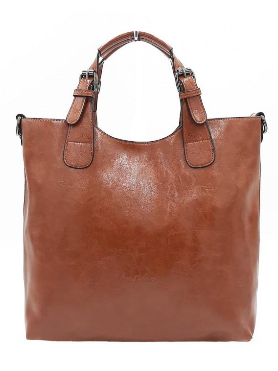 Brązowa klasyczna torebka damska INES DELAURE