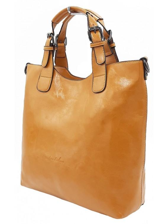 Musztardowa klasyczna torebka damska INES DELAURE