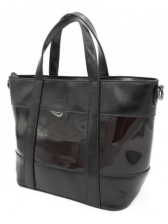 Czarna klasyczna torebka damska z paskiem INES DELAURE