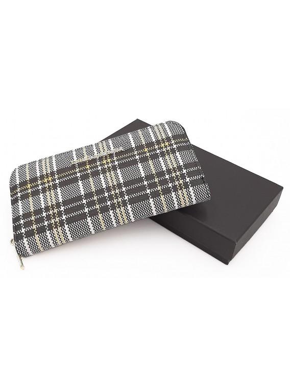 Czarny portfel damski w kratkę LULU CASTAGNETTE