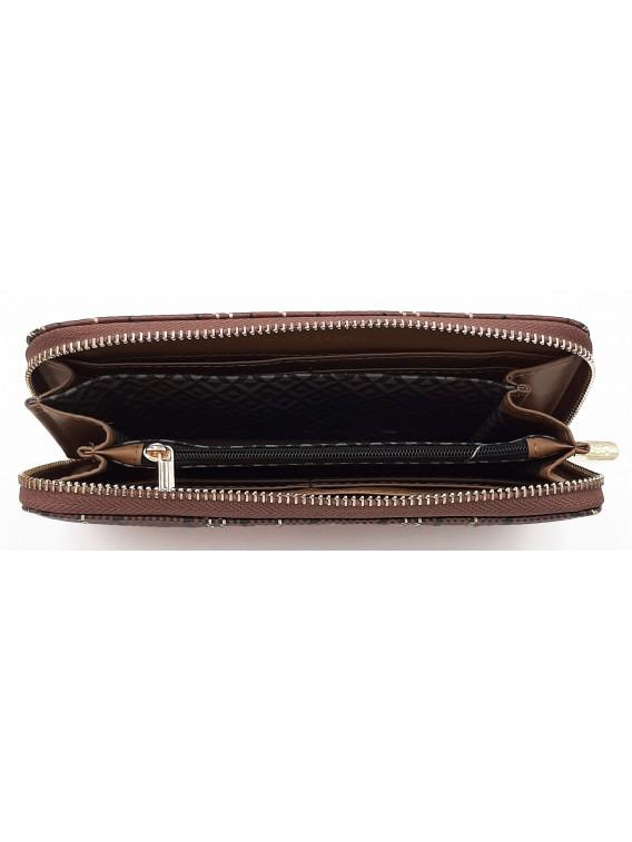 Brązowy portfel damski w kratkę LULU CASTAGNETTE