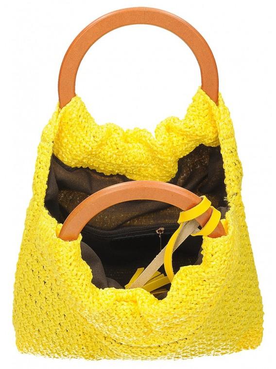 Mała torebka damska worek z okrągłymi rączkami Massiliano Sergio