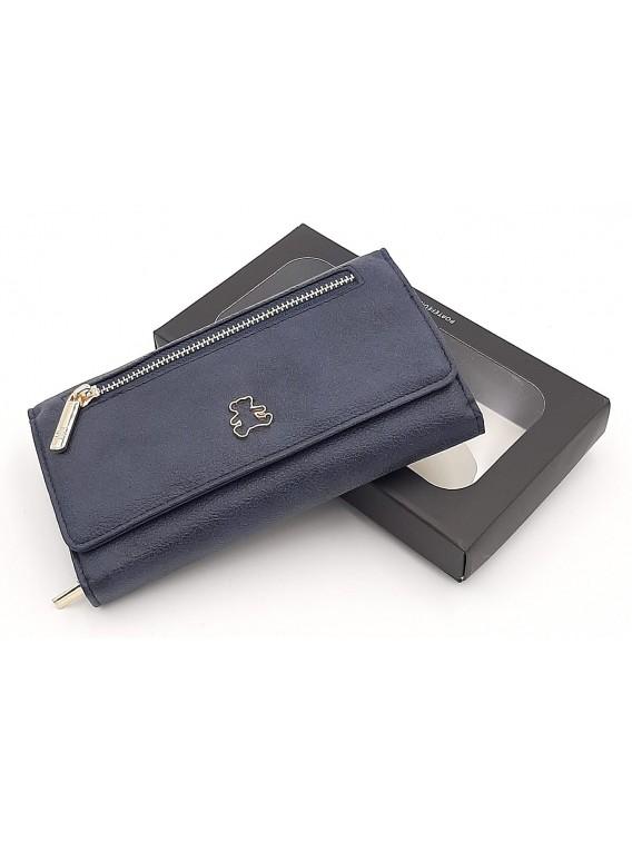 Granatowy portfel damski z klapką LULU CASTAGNETTE