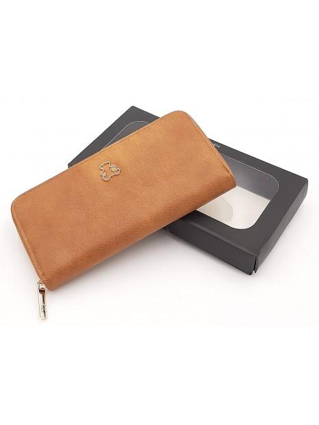 Brązowy portfel damski piórnik LULU CASTAGNETTE
