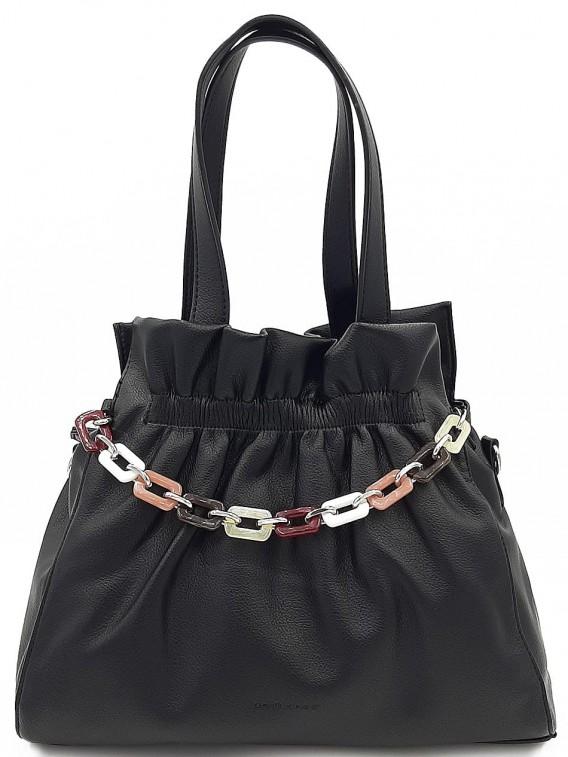 Czarna torebka damska na ramię DAVID JONES