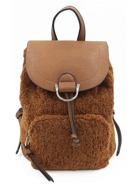 Brązowy pluszowy plecak damski BESTINI