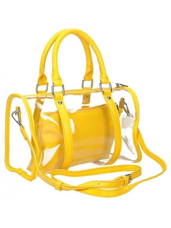 Żółta transparentna torebka z kosmetyczką BESTINI