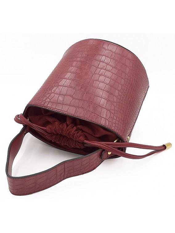 Bordowy kuferek damski wiązany na troczek BESTINI