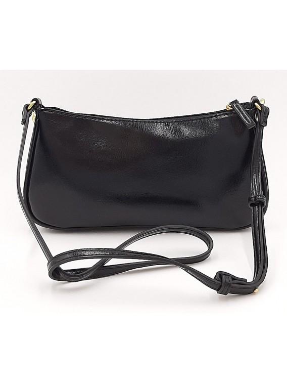 Czarna torebka listonoszka ze złotym łańcuchem BESTINI