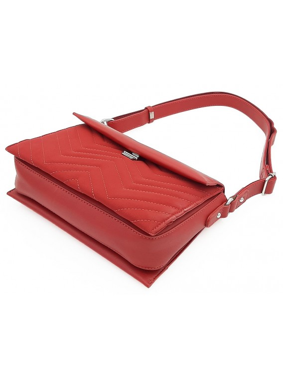 Czerwona torebka listonoszka z przeszyciami DAVID JONES