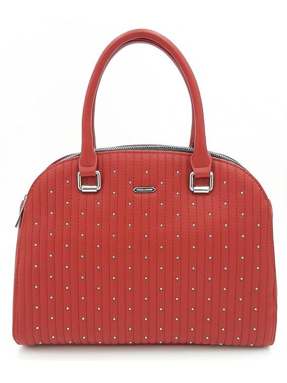 Czerwony kuferek damski z ćwiekami DAVID JONE