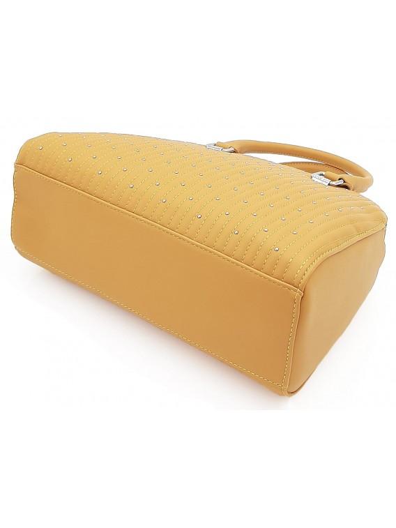 Musztardowy kuferek damski z ćwiekami DAVID JONE