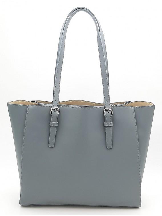 Szaro niebieski pojemny shopper damski DAVID JONES