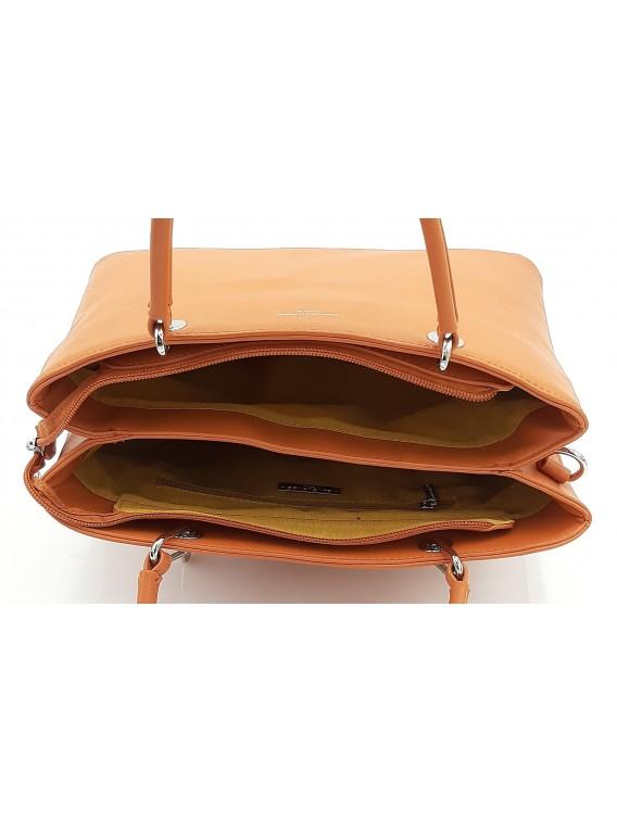 Pomarańczowy kuferek torebka damska DAVID JONES