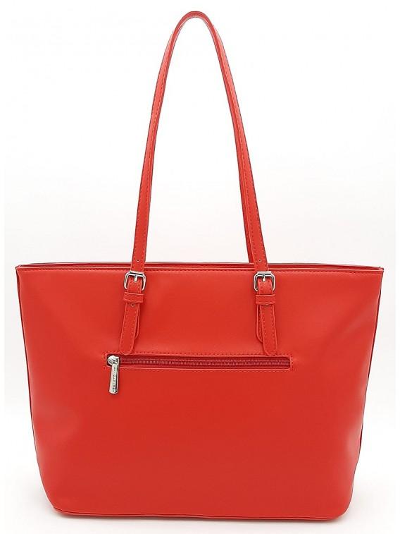 Czerwona klasyczna torba damska na ramię DAVID JONES