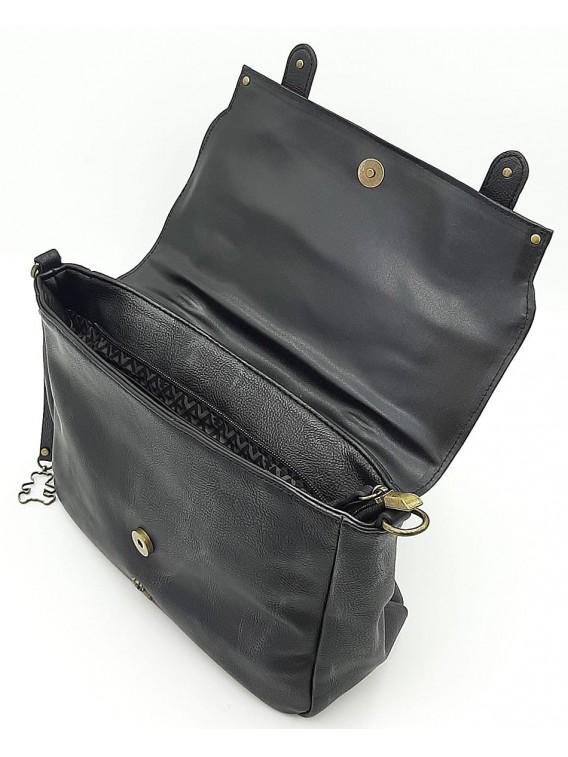 Czarna torebka listonoszka z misiem LULU CASTAGNETTE
