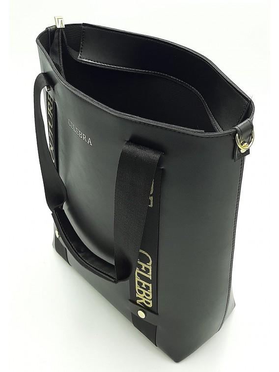 Czarna klasyczna torebka damska z wyjmowaną kosmetyczką