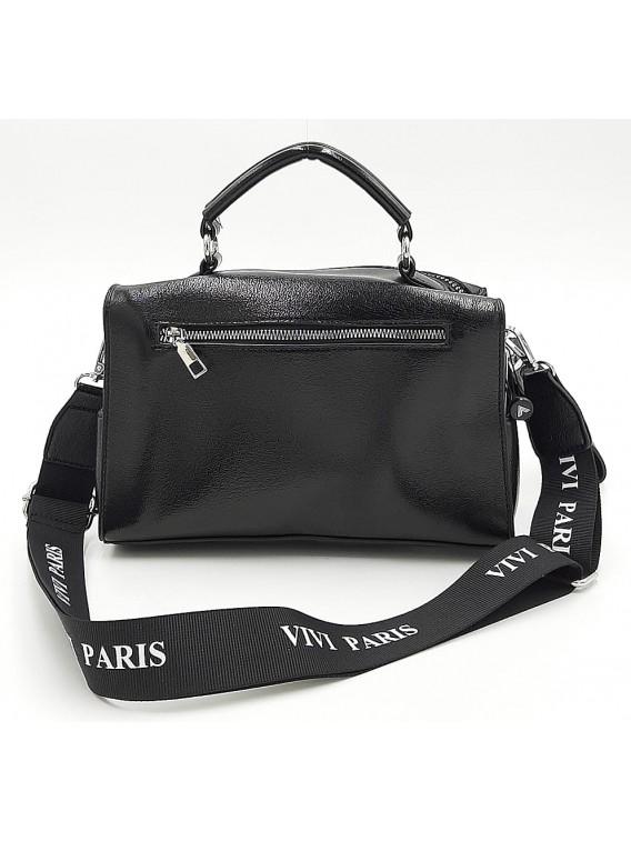 Czarna połyskująca torebka listonoszka Vivi Paris