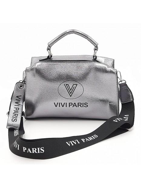 Srebrna połyskująca torebka listonoszka Vivi Paris