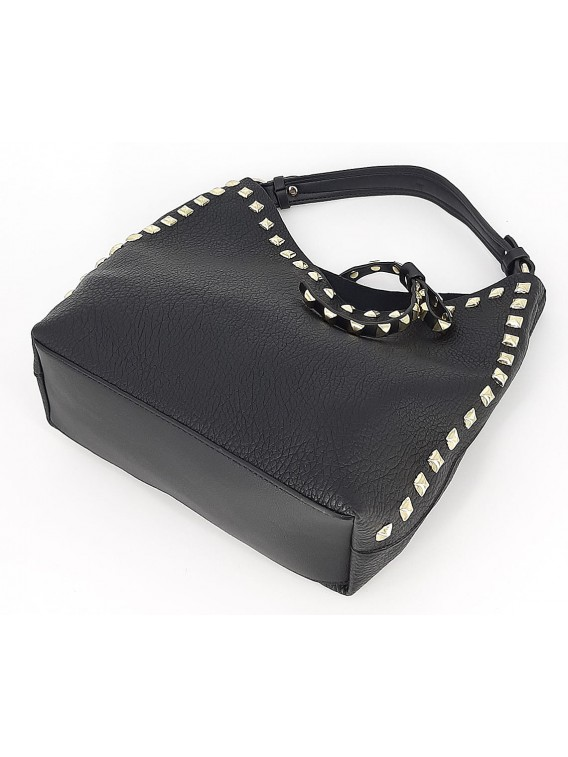 Czarna mała torebka damska worek z kosmetyczką
