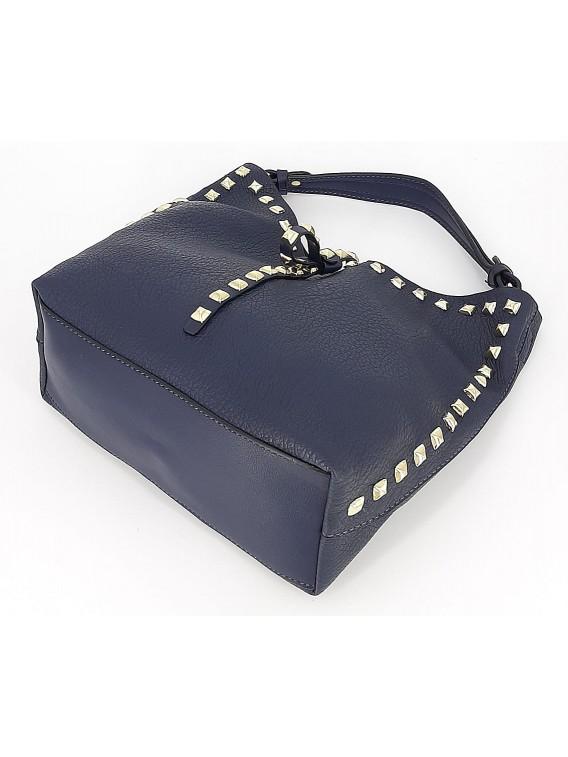 Granatowa mała torebka damska worek z kosmetyczką