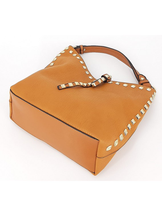 Jasnobrązowa mała torebka damska worek z kosmetyczką