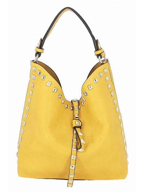 Żółta mała torebka damska worek z kosmetyczką