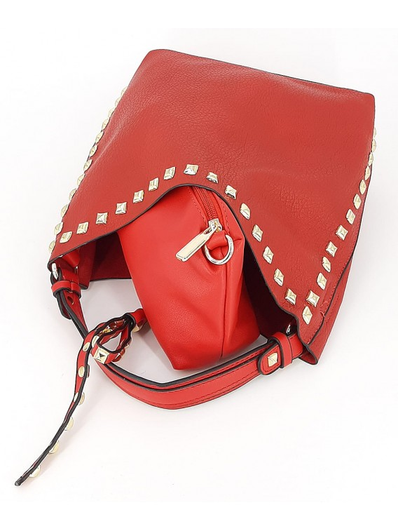 Czerwona mała torebka damska worek z kosmetyczką