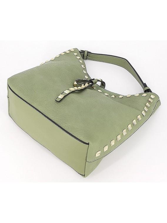 Miętowa mała torebka damska worek z kosmetyczką
