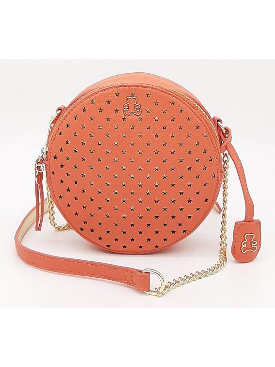 Pomarańczowa okrągła torebka listonoszka LULU CASTAGNETTE