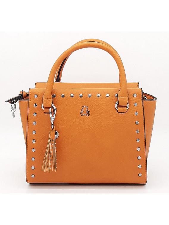 Pomarańczowy kuferek damski z ćwiekami LULU CASTAGNETTE