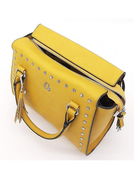 Żółty kuferek damski z ćwiekami LULU CASTAGNETTE