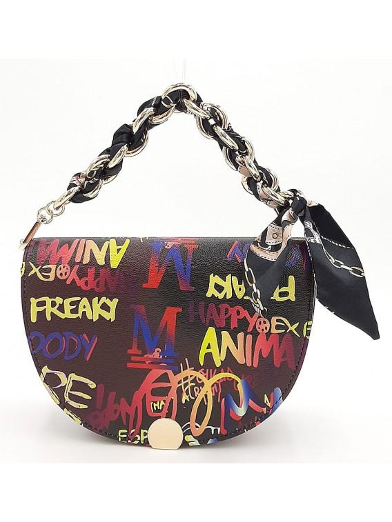 Kolorowa półokrągła torebka damska z napisami TOM&EVA