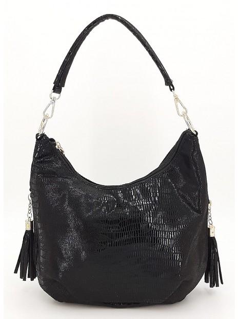 Czarna połyskująca torebka damska VIVI PARIS