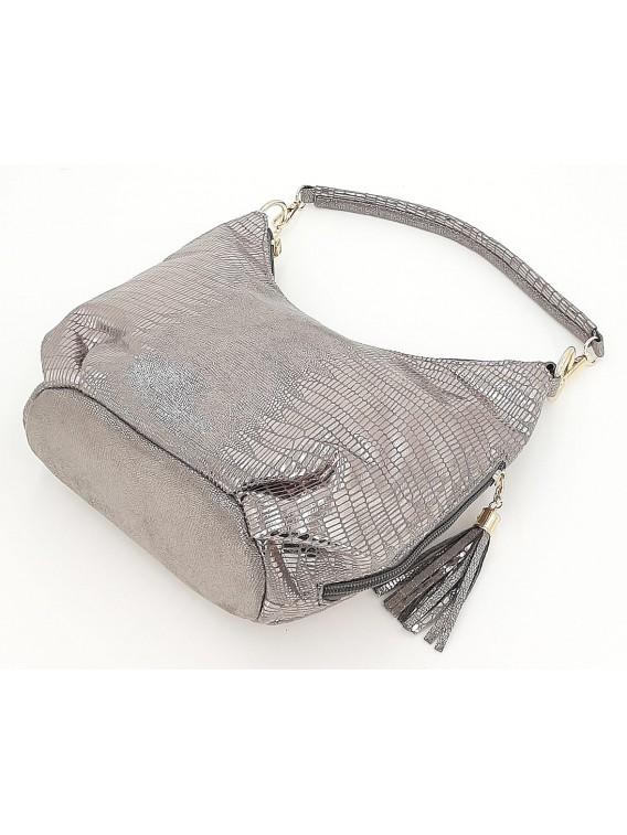 Srebrna połyskująca torebka damska VIVI PARIS