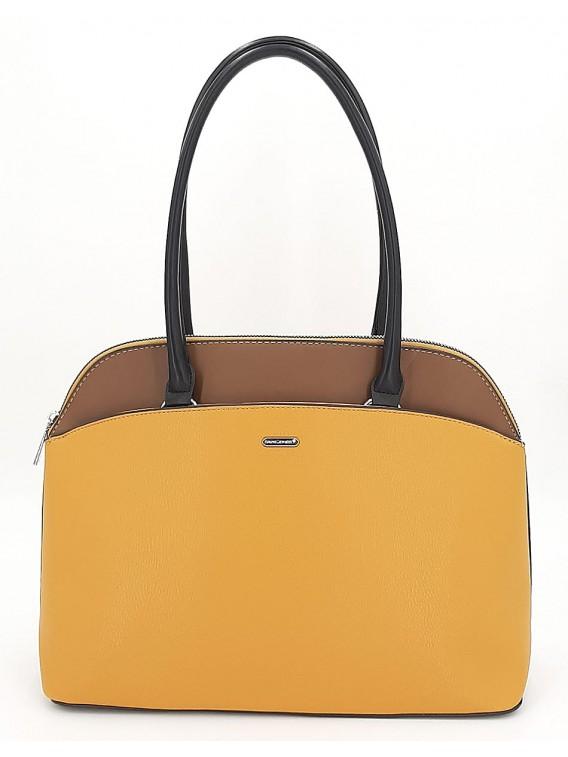 Musztardowa klasyczna torebka damska na ramię DAVID JONES
