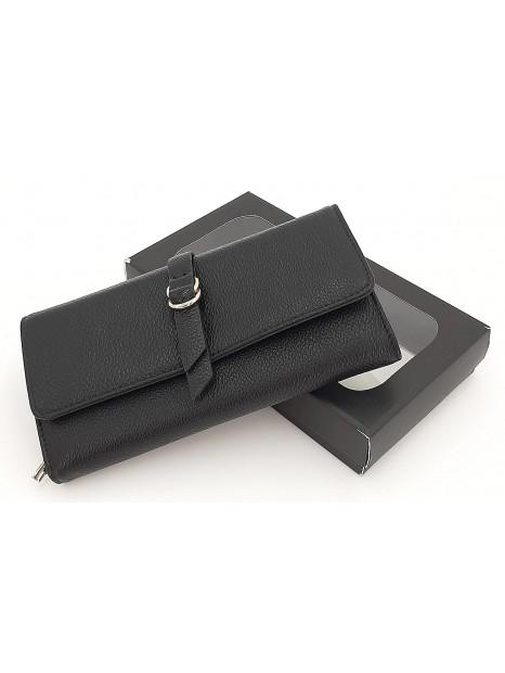 Czarny portfel damski z klapką LULU CASTAGNETTE