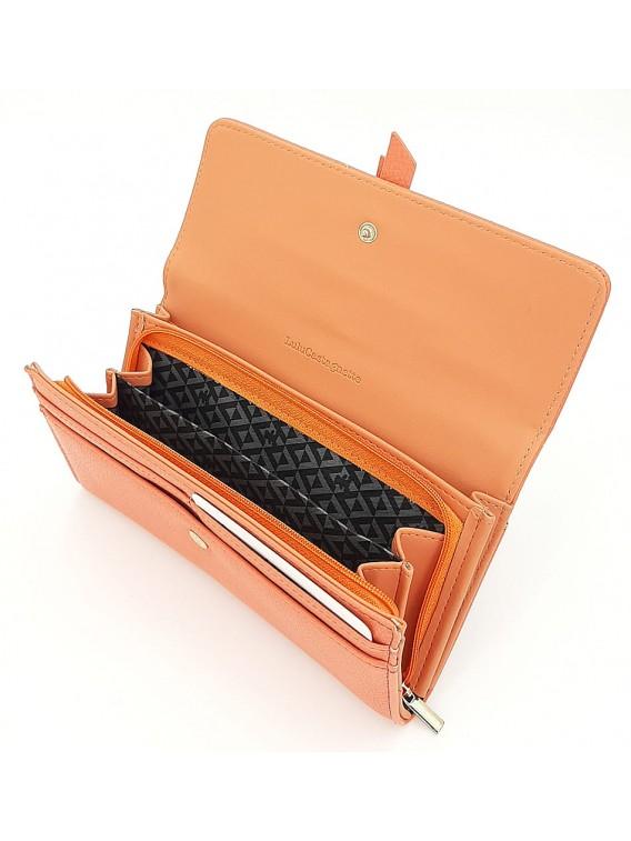 Pomarańczowy portfel damski z klapką LULU CASTAGNETTE