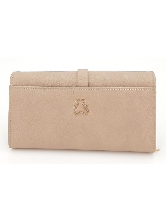 Beżowy portfel damski z klapką LULU CASTAGNETTE