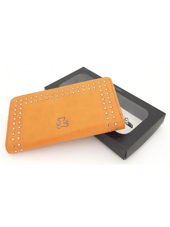 Pomarańczowy portfel damski piórnik LULU CASTAGNETTE