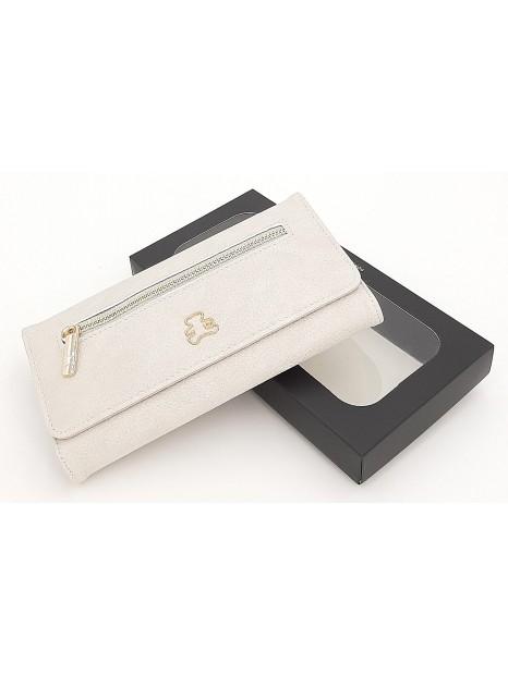 Jasnoszary rozkładany portfel damski LULU CASTAGNETTE